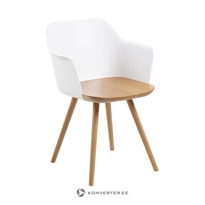 Solid wood brown-white armchair