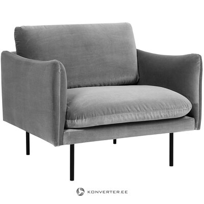 Gray velvet armchair (moby) (with beauty defects., Hall sample)