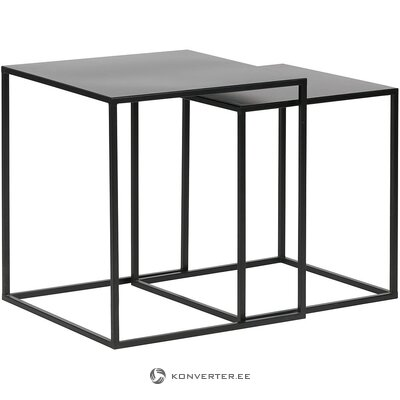 Black metal sofa table set (woood) (with defects., Hall sample)