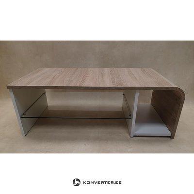 Коричнево-белый журнальный столик со стеклянной полкой