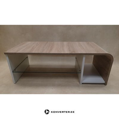 Brown and white coffee table with glass shelf