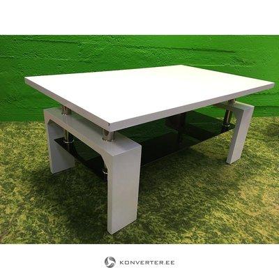 Balts spīdīgs dīvānu galds Joker (bojāts leņķis)