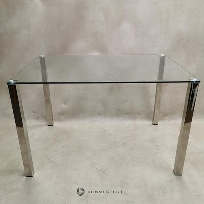 Glass dining table with metal legs (whole, in box)