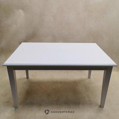 Valkoinen massiivipuinen ruokapöytä (kauneuden puutteilla, salinäyte)