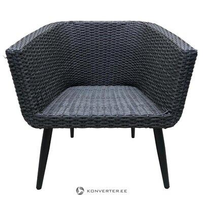Pilka žema sodo kėdė su pagalve (sveika salės pavyzdys)