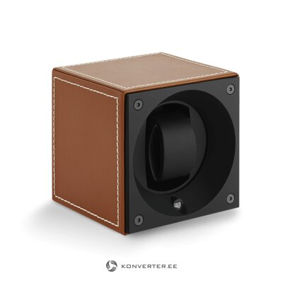 Brown rotating watch case (swiss cube)