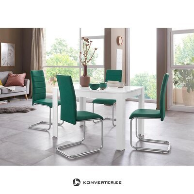 Balts spīdīgs pusdienu galds (120x80) (lynn)