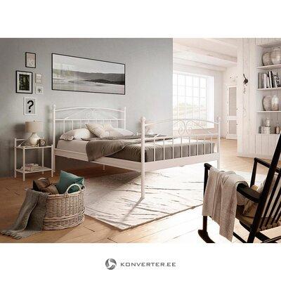 Pasiūlymas su nuolaida! balto metalo lova (180 x 200 cm) + 2 kokybiški čiužiniai (90 x 200 cm)
