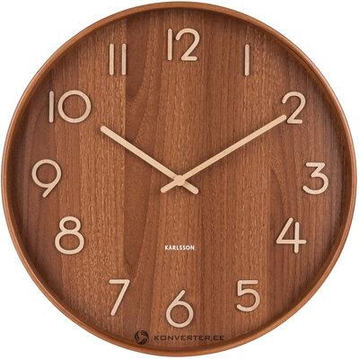 Brūns sienas pulkstenis tīrs (Karlsson) (ar skaistuma defektiem., Hall paraugs)
