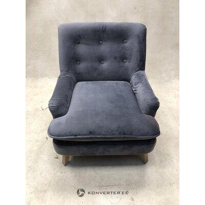 Pelēks zema samta krēsls (ar nepilnībām zāles paraugs)