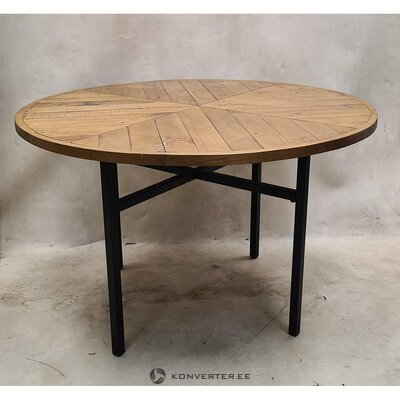 Brown-black round solid wood dining table