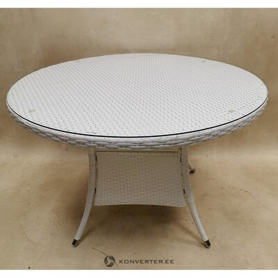White oval garden table with glass