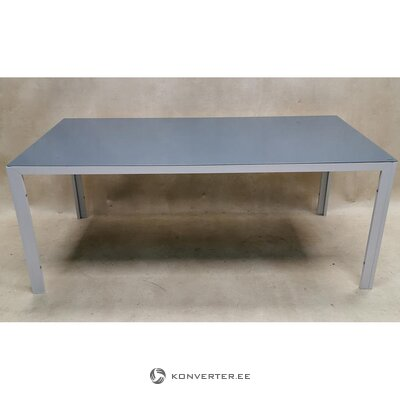 White tempered glass dining table