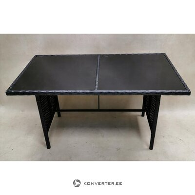 Gray garden table with tempered glass