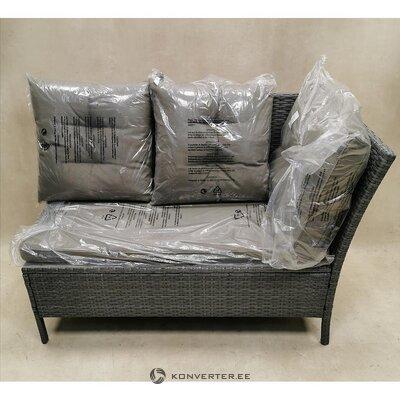 Серый садовый диван с подушками (код)