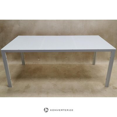 White tempered glass dining table (whole, in box)