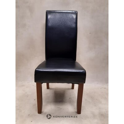 Black leather chair (hall sample, with defects,)