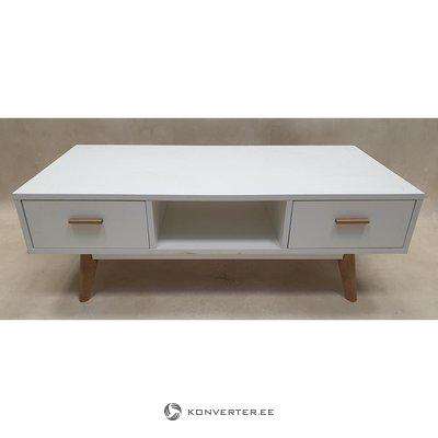 Бело-коричневый журнальный столик с 4 ящиками