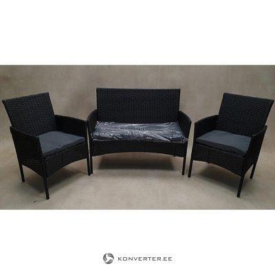 Черный садовый набор мебели