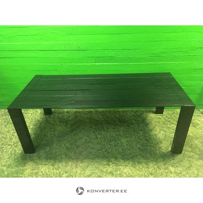 Large black dining table with tempered glass plate