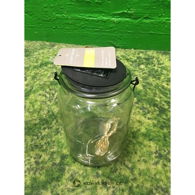 LED bulb with dimmer sensor in glass jar with solar cell