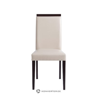 White Leather Solid Wood Chair
