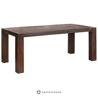 Suuri tummanruskea ruokapöytä akaasianpohjalla