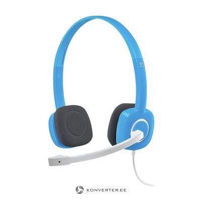 Blue Logitech headphones with microphone