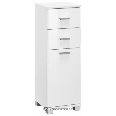 Small white bathroom cabinet with door and 2 drawers