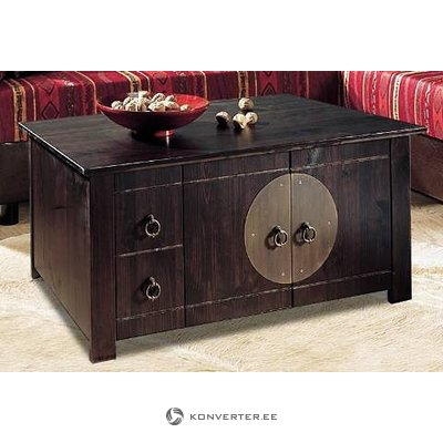 Dark brown coffe table with 2 doors and drawer
