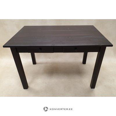 Musta massiivipuupöytä jossa 2 laatikkoa