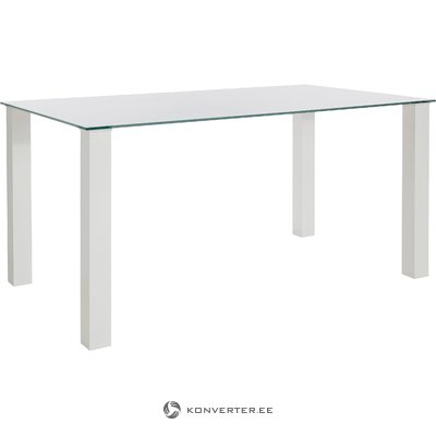 White Hot Glass Dining Table