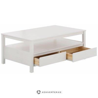Mažas baltas sofos stalas su 2 stalčiais