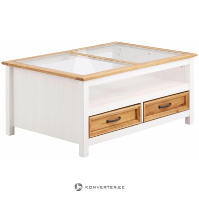 White solid wood sofa table with glass and 2 drawers