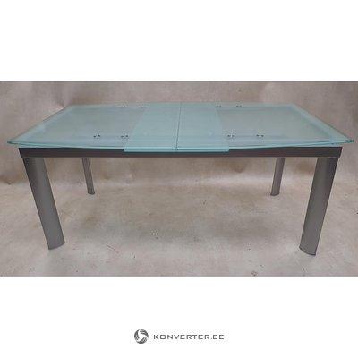 Stiklas plečiamas pietų stalas (su grožio trūkumais)