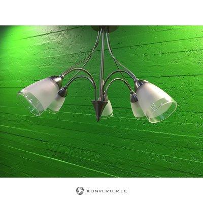 Hõbedane laelamp viie klaaskupliga