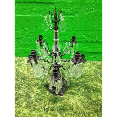 Steel candle holder with glass beads