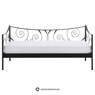 Black narrow metal bed frame (princess) (90x200cm)