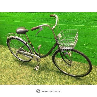 Темно-зеленый велосипед с корзиной и лампочкой динамо