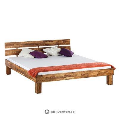 Tamsiai rudas ąžuolo lova (180x200) (medienos)