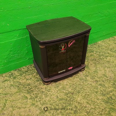 Small Black TV Cabinet with Glasses and Rotary Tablets