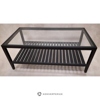 Black garden table with glass