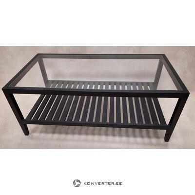 Черный садовый столик со стеклом