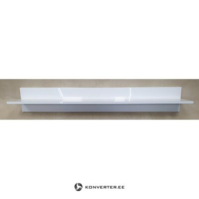 White high gloss wide wall shelf