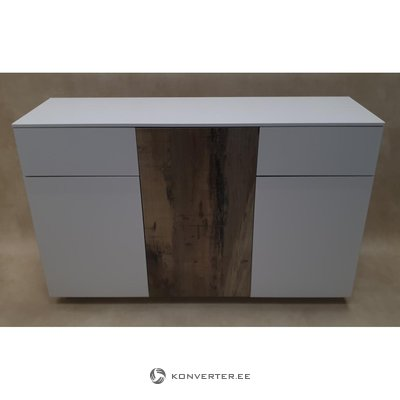White-brown high gloss chest of drawers