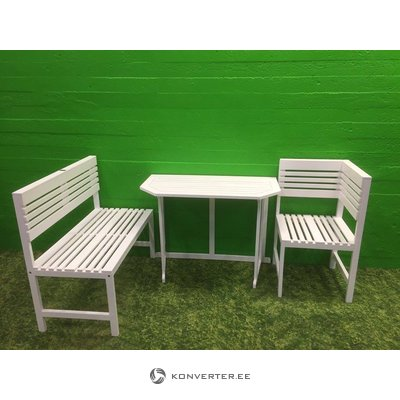 White solid wood patio furniture