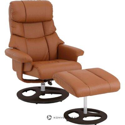 Rudas pasukamas odinis fotelis (toulonas)