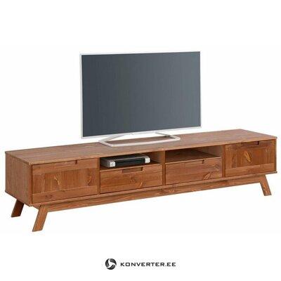 Широкая коричневая тумба под телевизор из массива дерева