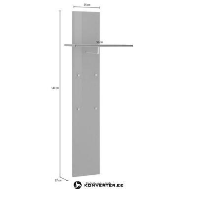 White high-gloss wall shelf with racks