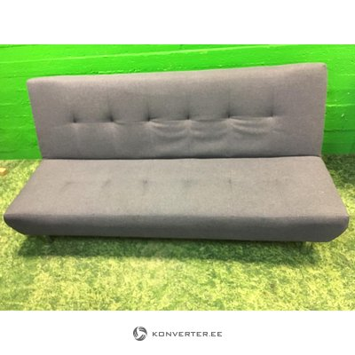 Dark gray sofa bed on metal feet